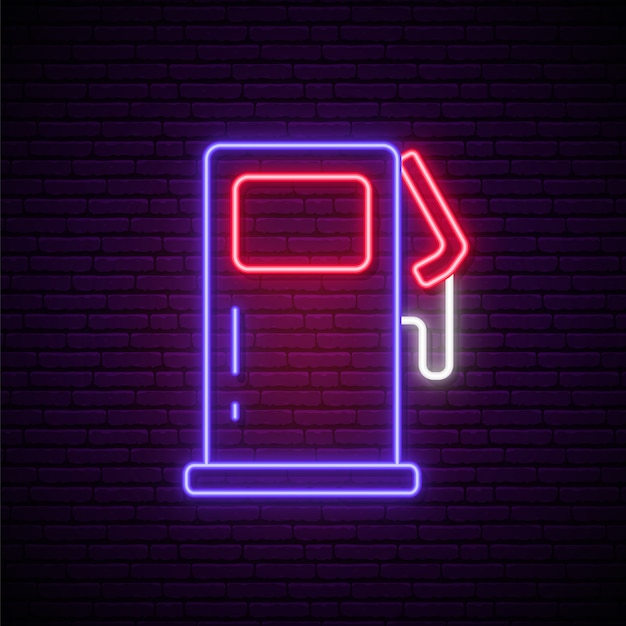 Neon gas station sign. Premium Vector