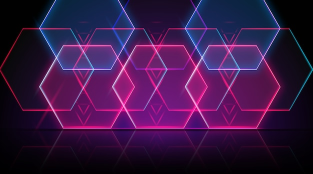 Neon geometrical shapes background Free Vector