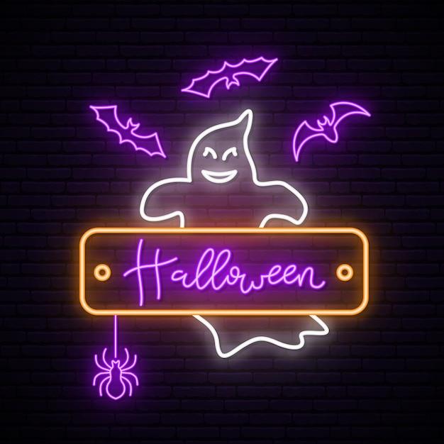 Neon ghost signboard Premium Vector