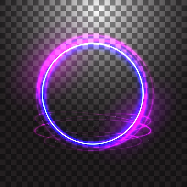 Neon gloving ring isolated on transparent background. blue round light effect. Premium Vector