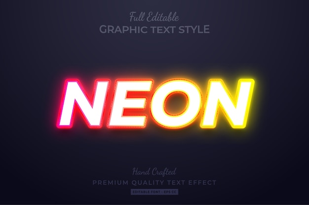 Neon glow editable custom text style effect premium Premium Vector