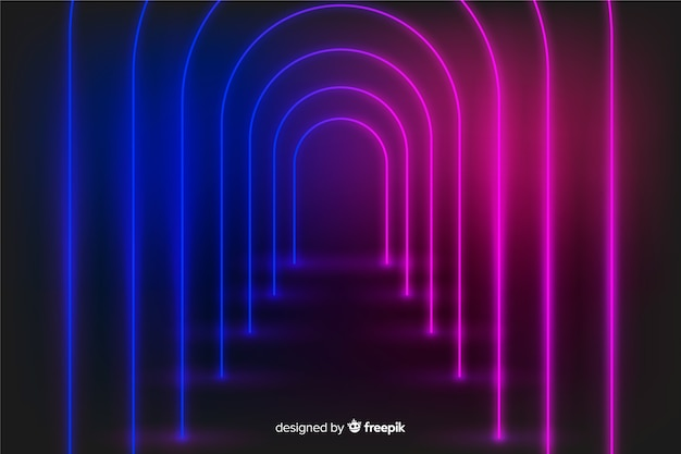 Neon glow lights stage background Free Vector