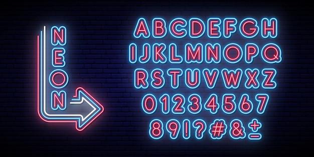 Neon glowing alphabet. bright typeface. Premium Vector