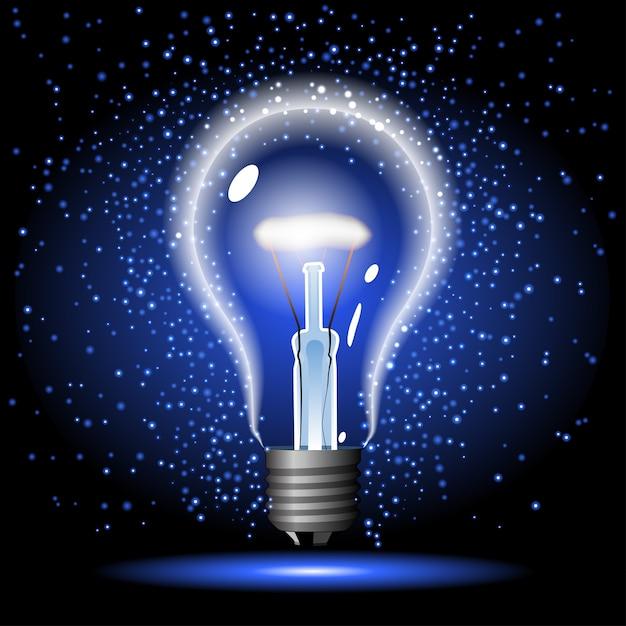 Неоновая светящаяся лампочка с блеском Premium векторы