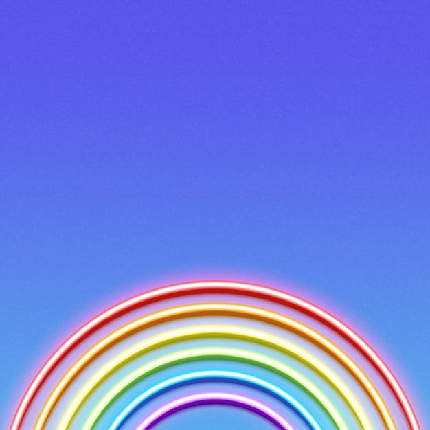 Neon glowing rainbow Premium Vector