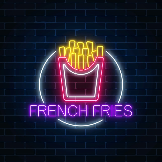 Neon glowing sign of burger in circle frame on a dark brick wall Premium Vector