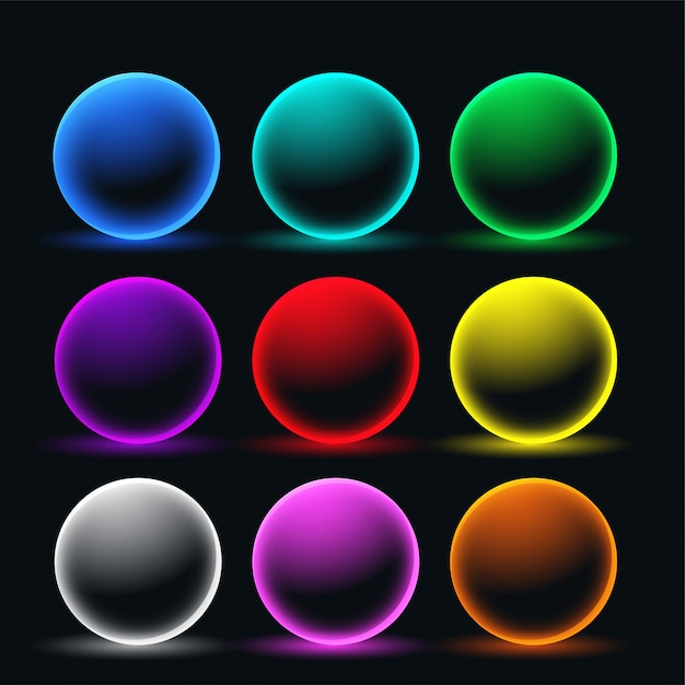 Neon glowing sphere circles set Free Vector