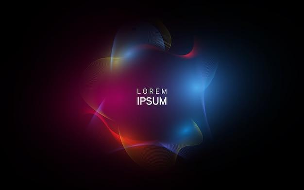 Неоновые светящиеся линии техно, высокотехнологичный футуристический абстрактный фон Premium векторы