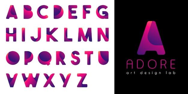 Neon gradient alphabet Premium Vector
