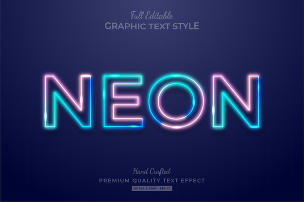 Neon gradient editable text effect font style Premium Vector