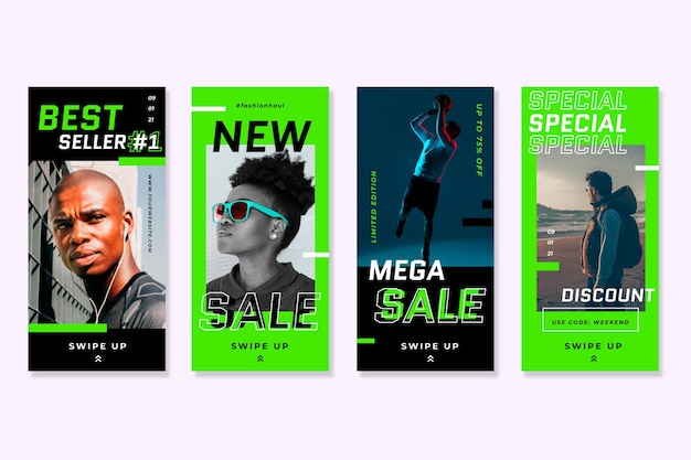 Storie di vendita di instagram di colori verde acido al neon Vettore gratuito