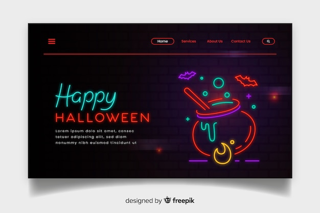 Neon halloween landing page with melting pot Free Vector