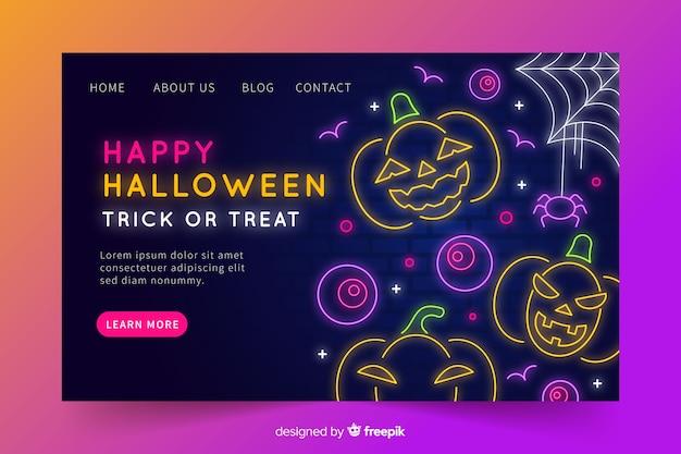 Neon halloween landing page Free Vector
