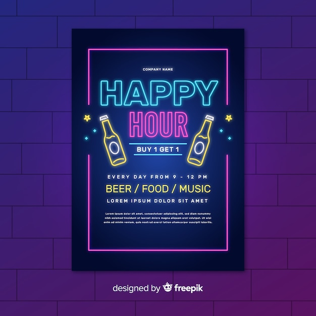 Neon happy hour lights poster with bottles of beer Free Vector