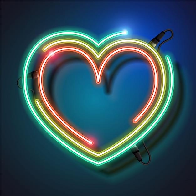 Неоновый фон сердца Premium векторы