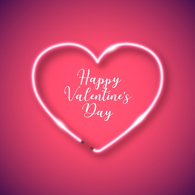 Neon heart frame for valentine's day Free Vector