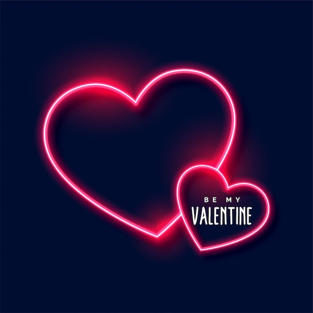 Neon hearts background for valentines day Free Vector