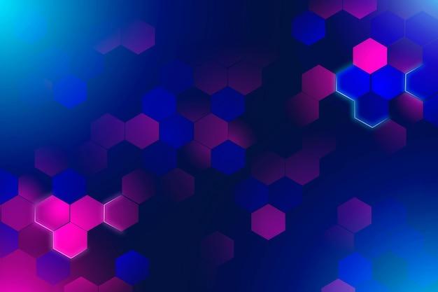 Neon sfondo esagonale Vettore gratuito