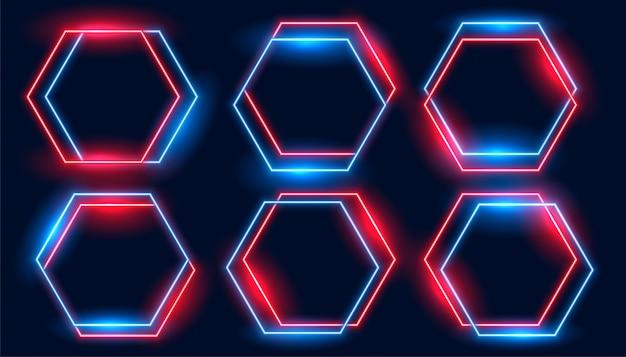 Неоновые гексагональные рамки установлены в синих и красных тонах Бесплатные векторы