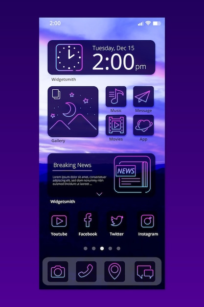 Neon home screen interface Free Vector