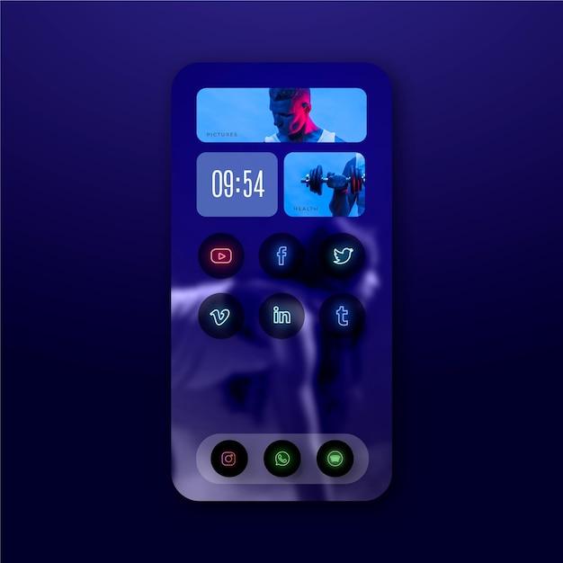 Modello di schermata iniziale al neon per smartphone Vettore gratuito