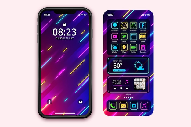 Neon home screen template for smartphone Free Vector