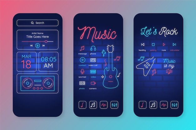 Neon home screen template for smartphone Premium Vector