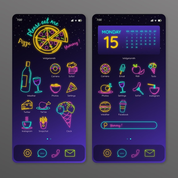 Neon home screen template for smartphone Premium Vector