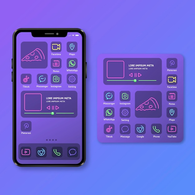 Neon home screen theme for smartphone Free Vector