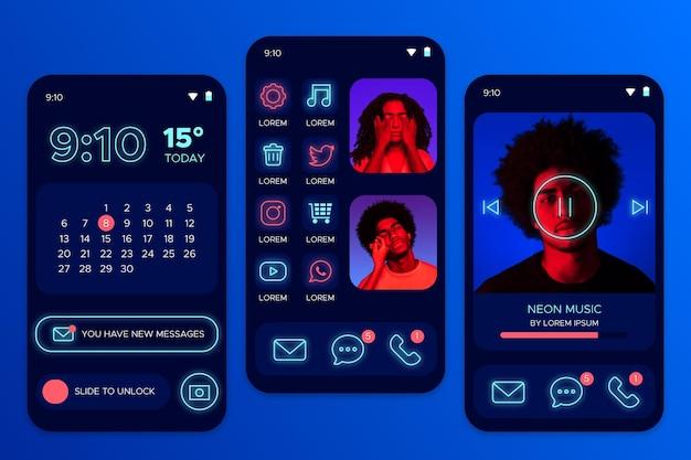 Schermata iniziale al neon con avatar di persone Vettore gratuito