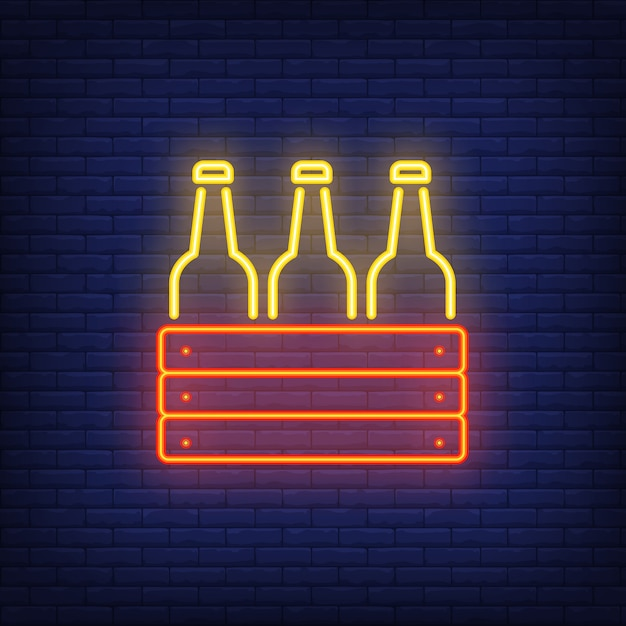 Neon icon of box with bottles Free Vector