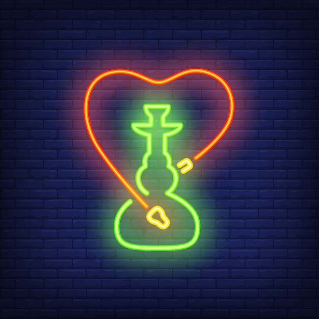 Neon icon of hookah with heart shaped hose Free Vector