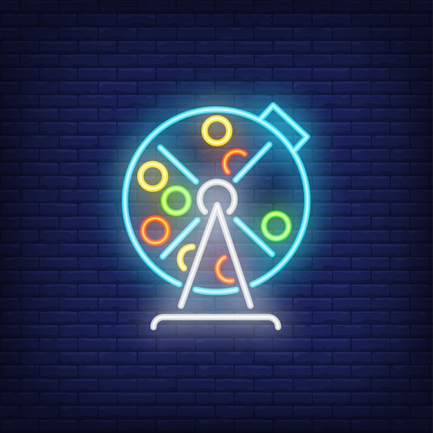 Neon icon of lottery drum Free Vector