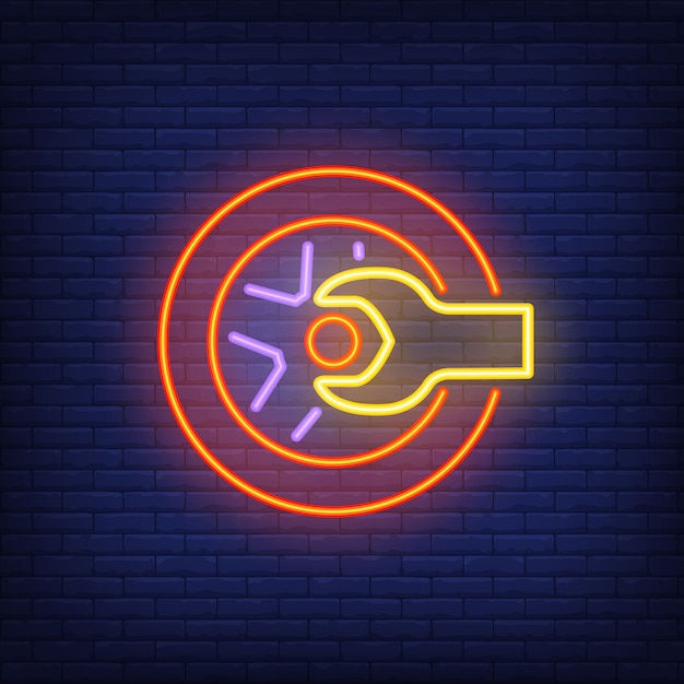 neon icon of tire shop vector free download