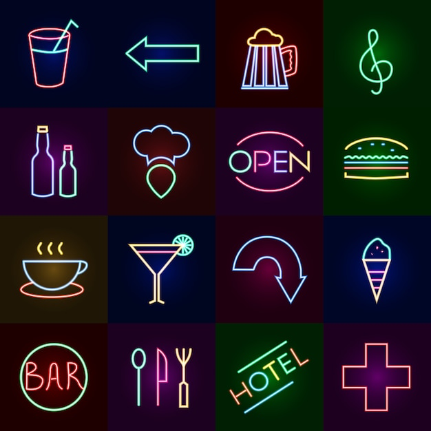 Neon icons set Free Vector