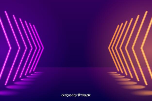 Neon illuminated stage background Free Vector