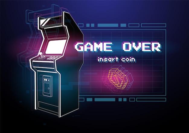 アーケードゲーム機のネオンイラスト。 。 Premiumベクター