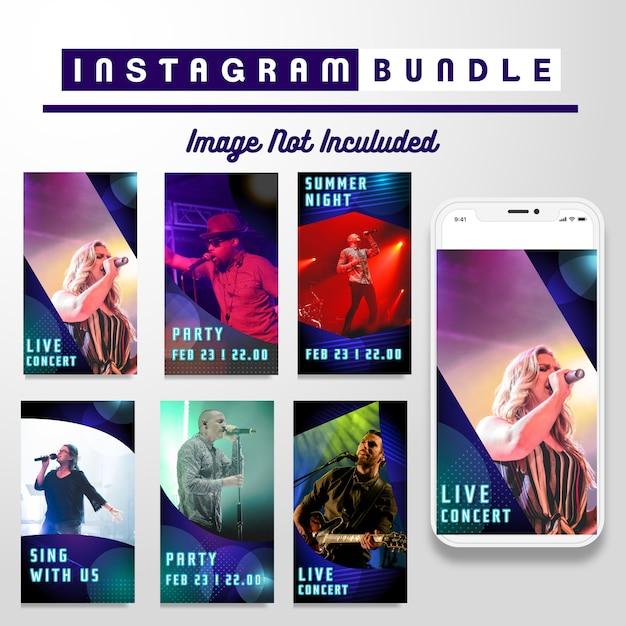 Neon instagram music story template Premium Vector