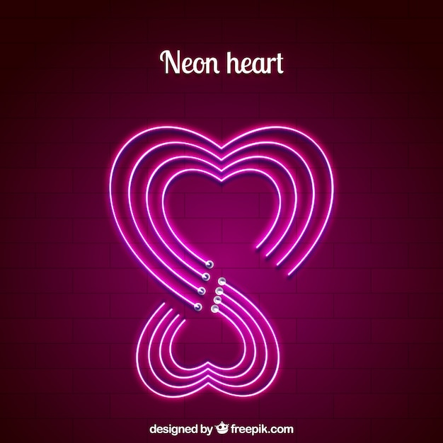 Free Neonsign Psd: Neon Isolated Heart Background