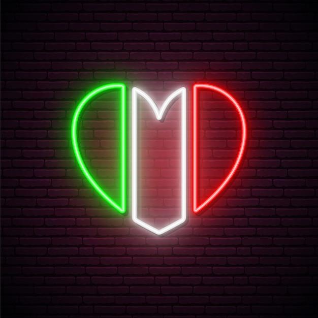 Неоновый флаг италии в форме сердца. Premium векторы