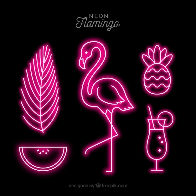 Neon lamp with flamingo shape Free Vector