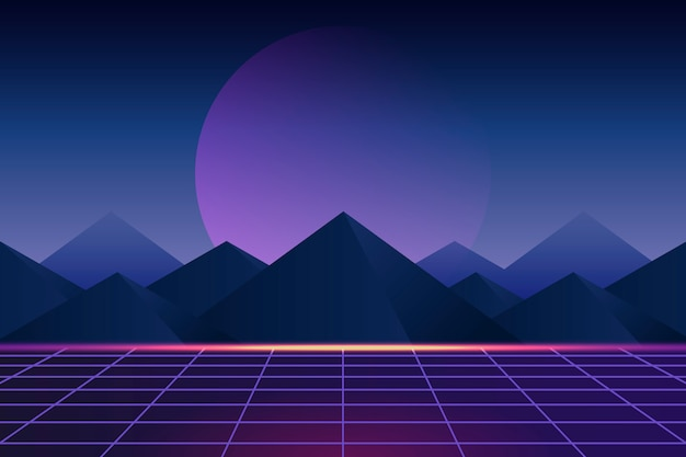 Neon landscape background Free Vector