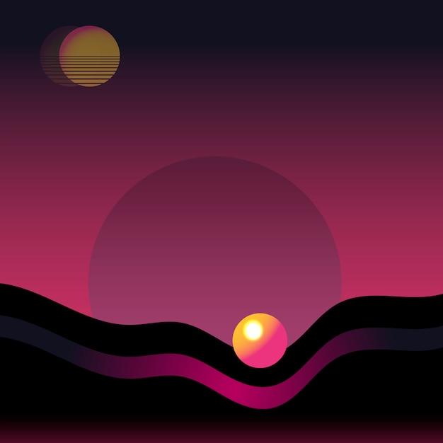 Neon landscape background Free Vector