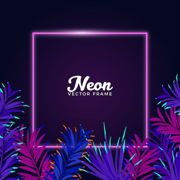 Neon leaves frame background Premium Vector