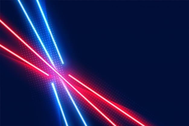 Neon led light effect lines in blue and red colors Free Vector