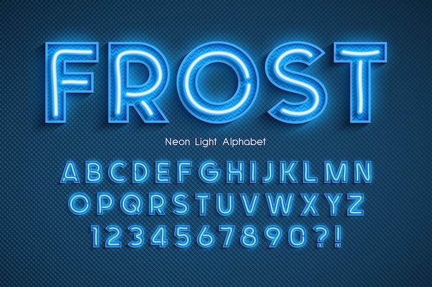 Neon light 3d alphabet, extra glowing font. Premium Vector