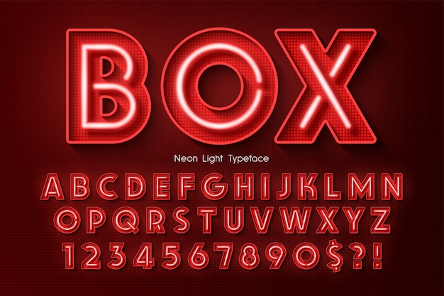 Neon light 3d alphabet, extra glowing font. Premium Vector