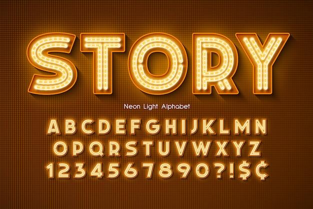 Неоновый свет алфавит, дополнительный светящийся шрифт. Premium векторы