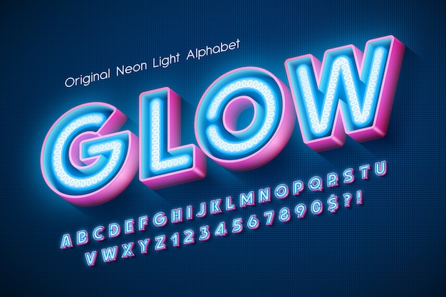 Neon light  alphabet, extra glowing modern type. Premium Vector