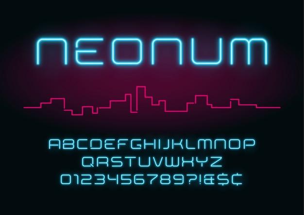 Алфавит неоновый свет, реалистичный дополнительный светящийся футуристический шрифт. Premium векторы